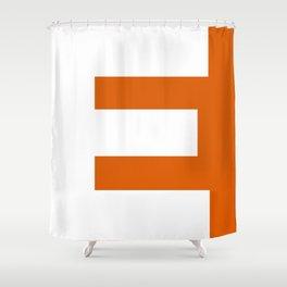 Sans Serif E. White on Red Orange. Shower Curtain