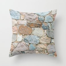 old wall from field stones Throw Pillow
