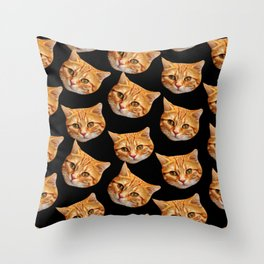 cute black and orange cat pattern Throw Pillow