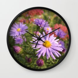 Pink Asters Wall Clock