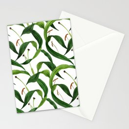 Tropical lily leaves watercolor dark seamless pattern Stationery Cards