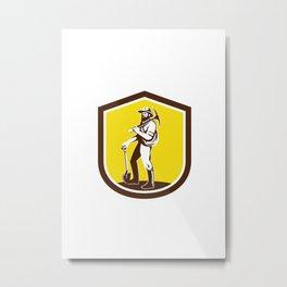 Coal Miner Carry Pick Axe Shoulder Retro Metal Print