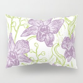Orchid flowers. Hand drawn on white background olive Green pink purple contour sketch Pillow Sham