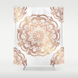Mandala Rose-Gold Shine Shower Curtain