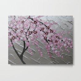 Delicate pink sakura with silver background Metal Print