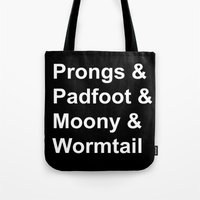 marauders Tote Bags featuring Marauders  by Beautiful Bibliophile's Boutique