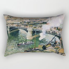 Pont Boieldieu in Rouen, Rainy Weather by Camille Pissarro Rectangular Pillow