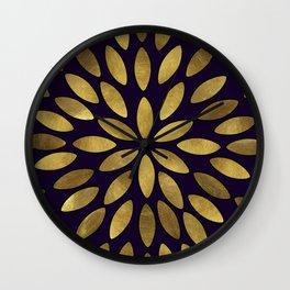 Classic Golden Flower Leaves Pattern Wall Clock