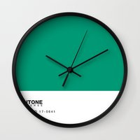 pantone Wall Clocks featuring pillow pantone by beastydesign