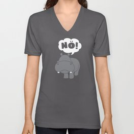 Hippo Insults No Bad Mood Hippopotamus Unisex V-Neck