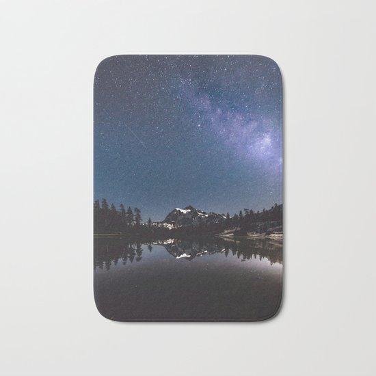 Summer Stars - Galaxy Mountain Reflection Bath Mat