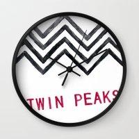 twin peaks Wall Clocks featuring Twin Peaks by BITN