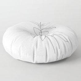 Plant one line drawing illustration - Ellie Floor Pillow