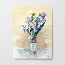 KargacinArt - Flowers in a Vase - Original Watercolor Painting Metal Print
