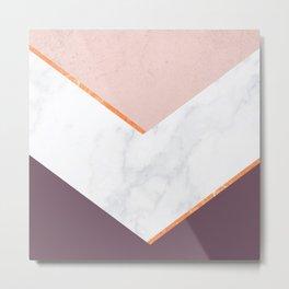 BLUSH Pink Marble Gold PLUM Geometric Metal Print