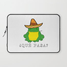 Qué Pasa? Funny Mexican Toad With Sombrero Cigarette Frogs & Amphibians Design Laptop Sleeve