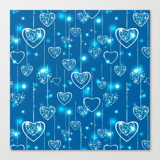 Bright openwork hearts on a light blue background. Canvas Print
