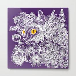 Fleur de Feline Metal Print
