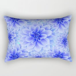 BLUE-WHITE DAHLIA FLOWERS IN  TEAL COLOR Rectangular Pillow