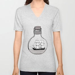 Ship in the Glass Bulb for Home Decor and Apparel Unisex V-Neck