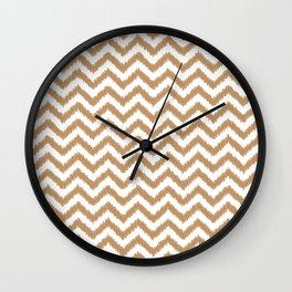 Gold Ikat Chevron Zigzag Pattern Wall Clock