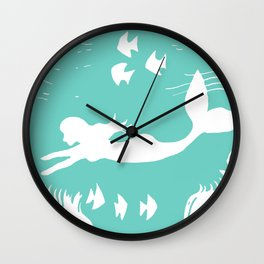 Mint and White Mermaid Silhouette Art Wall Clock