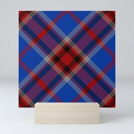 Blue red tartan  Mini Art Print