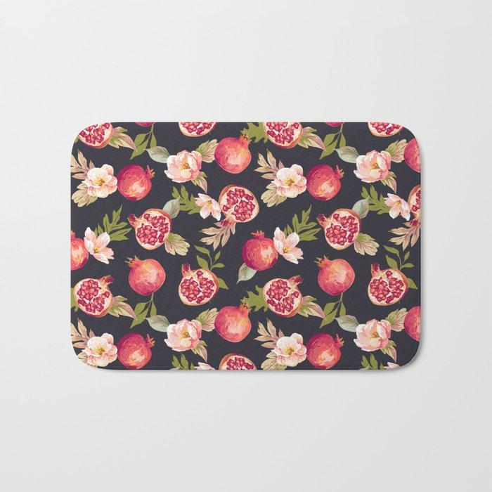 Pomegranate patterns - floral roses fruit nature elegant pattern Bath Mat