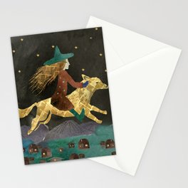Moon and Witch Stationery Cards