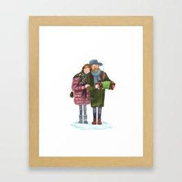 Russian funky couple Framed Art Print