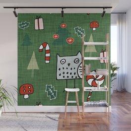 Christmas Owl Green #Christmas #Holiday Wall Mural