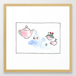 Travelling Postcard #3 - A cup of tea ? Framed Art Print