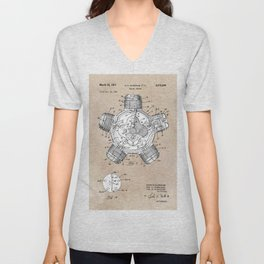 patent art Aldridge 1971 Radial engine Unisex V-Neck