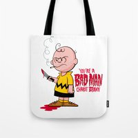 charlie brown Tote Bags featuring You're a Bad Man Charlie Brown by Chris Piascik