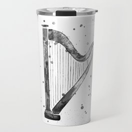 Harp, black and white Travel Mug