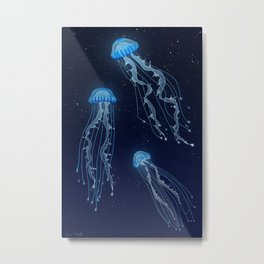 Space Jellies Metal Print