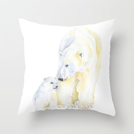 Mother and Baby Polar Bears Watercolor Throw Pillow