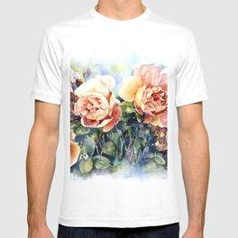 Watercolor yellow orange roses flowers T-shirt