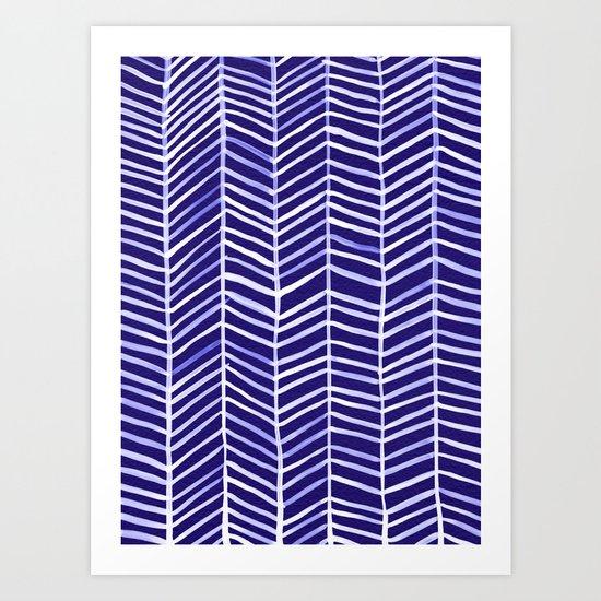 Herringbone – Navy & White Art Print