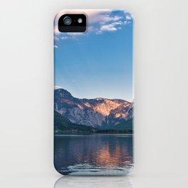 Beautiful sunset in Hallstatt village above the lake, Austria iPhone Case