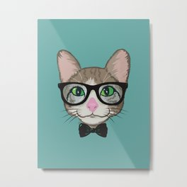 Colorful Cat Hipster with Bow Tie Metal Print