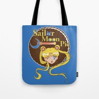 pie Tote Bags featuring Moon Pie by Ashley Hay