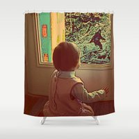 bigfoot Shower Curtains featuring Hello Bigfoot! by Silvio Ledbetter