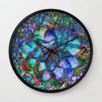 succulent Wall Clocks featuring Succulent by Klara Acel