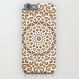 16 Fold Mandala in Orange iPhone Case