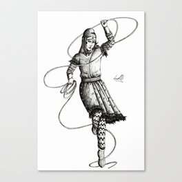 B&W Scythian Woman of Wonder Canvas Print