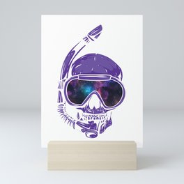 Psychedelic Snorkeling Skull Outer Space Goggles Cosmic Mini Art Print