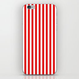 Original Berry Red and White Rustic Vertical Tent Stripes iPhone Skin