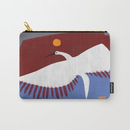 White Crane Ponders Carry-All Pouch
