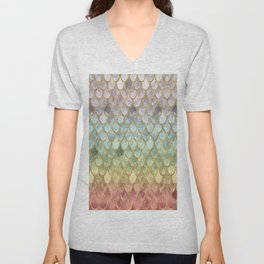 Rainbow Marble Mermaid Scales Unisex V-Neck